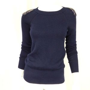 Ann Taylor Loft  Navy Wool Blend Crew neck Sweater